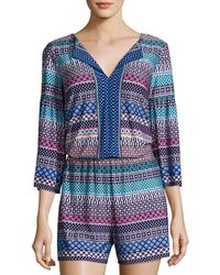 Laundry by Shelli Segal - Printed Bell-sleeves Romper - Lyst