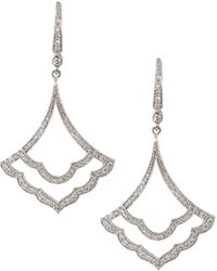 Penny Preville - 18k White Gold Open Diamond Pave Drop Earrings - Lyst