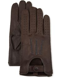 John Varvatos Leather Driving Gloves - Brown