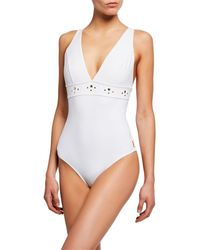 Shan So Sexy Studded One-piece Swimsuit - White