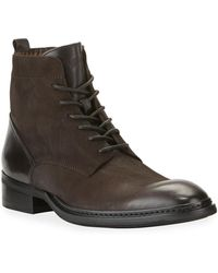 Karl Lagerfeld Men's Rugged Leather Combat Boots - Brown