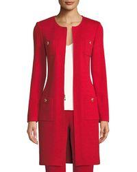 St. John - Santana-knit Jewel-neck Topper Jacket - Lyst
