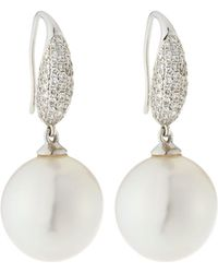 Belpearl - 18k White Gold Diamond Pave & Pearl Earrings - Lyst