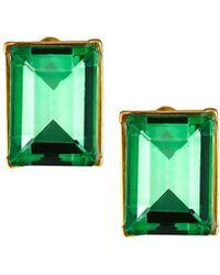Kenneth Jay Lane Rectangular Erinite Stud Earrings Green