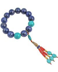 Devon Leigh - Lapis Stretch Bracelet W/ Beaded Tassel - Lyst