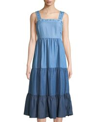 Philosophy - Tiered Colorblock Chambray Midi Dress - Lyst