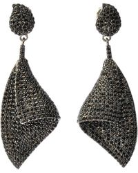Bavna - Black Silver Curved Drop Earrings With Black Spinel - Lyst
