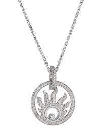 Chopard - Happy Sun 18k White Gold Diamond Pendant Necklace - Lyst