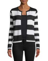 Neiman Marcus Sequin Striped Open-front Cashmere Cardigan - Black