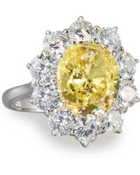 Fantasia by Deserio - Oval Canary & Clear Cz Crystal Flower Ring - Lyst