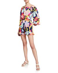 Laundry by Shelli Segal - Printed Off-the-shoulder Ruffle Romper - Lyst