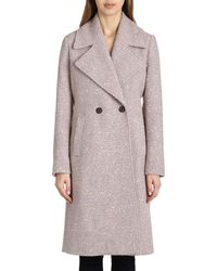 Badgley Mischka - Two-button Notched-collar Boucle Mid-length Coat - Lyst