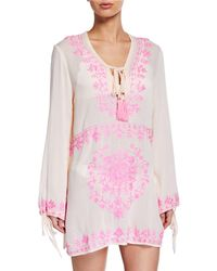 Neiman Marcus Embroidered Deep V-neck Tassel-tie Long-sleeve Coverup Pink