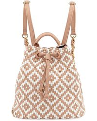 Neiman Marcus - Diamond-weave Drawstring Backpack - Lyst