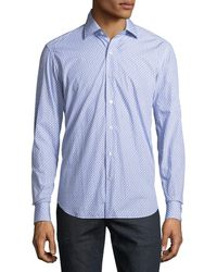 Culturata Ring-print Long-sleeve Woven Sport Shirt Blue/white