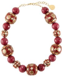 Devon Leigh - Mixed Red Bead Necklace - Lyst