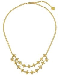 Freida Rothman Floral Double-row Cubic Zirconia Bib Necklace - Metallic
