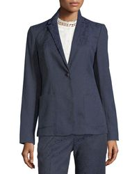 T Tahari - Damask-print One-button Jacket - Lyst