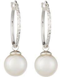 Majorica Hoop Earrings W/ 10mm Pearl Drop White