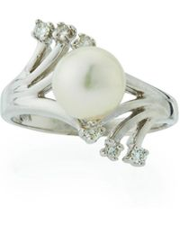 Belpearl - 14k Prong-set Diamond & Akoya Pearl Ring - Lyst