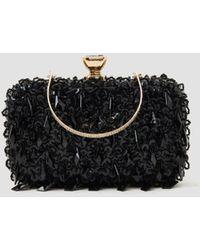 Lattelier Sequin Beaded Evening Clutch - Black