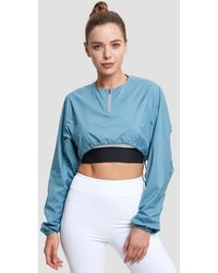 Lattelier Stretch Drawstring Pleated Sweatshirt - Blue