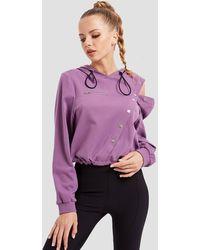 Lattelier Asymmetric Open Knit Sweatshirt - Purple