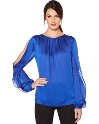 Laundry by Shelli Segal - Shirred Neck Split Sleeve Top - Lyst