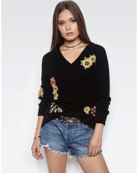 Lauren Moshi - Macall Sanctuary Oversized V-neck Embroidered Cashmere Sweater - Lyst