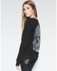 Lauren Moshi Abegail Heart Skull L/s Pullover W/lace Up Front - Black