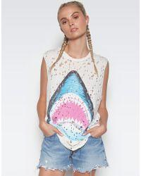Lauren Moshi - Kel Bright Shark Scoop Neck Muscle Tank - Lyst