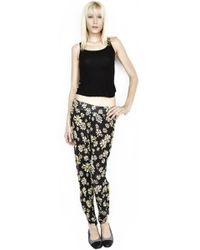 Lauren Moshi Mimi Skull Daisy Pant W/ Sherring Final Sale - Black
