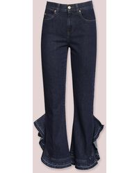 L'Autre Chose Jeans Con Volants Laterali - Blu