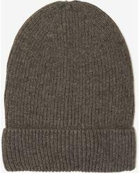 Lavish Alice - Dark Grey Cashmere Rib Knit Beanie Hat - Lyst
