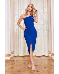 Lavish Alice Off Shoulder Wrap Dress - Blue