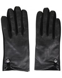 Pieces Black Perforated Leather & Suede Gloves