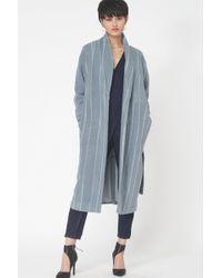 Lavish Alice - Striped Wool Robe Coat In Powder Blue - Lyst