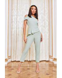 Lavish Alice Asymmetric Button Detail Jumpsuit - Green