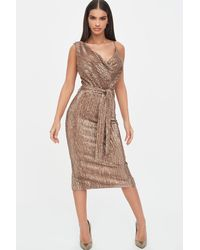 Lavish Alice - Pleated Sequin Cowl Neck Midi Dress - Lyst