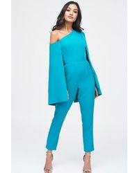 5a69ad0b5d0 Lavish Alice - One Shoulder Cape Tailored Jumpsuit In Jade Green - Lyst