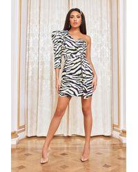 Lavish Alice One Puff Sleeve Blazer Mini Dress - Multicolor