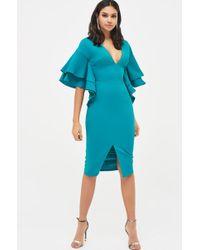 Lavish Alice Exaggerated Double Frill Sleeve Woven Midi Dress In Jade Green - Blue
