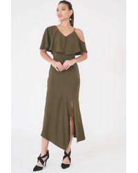 Lavish Alice Asymmetric Off The Shoulder Dress - Multicolor
