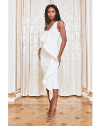 Lavish Alice One Shoulder Scuba Frill Midi Dress - White