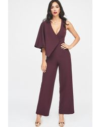 5493a78dbd5 Lyst - Charlotte Russe Plus Size Draped One-shoulder Jumpsuit in Red