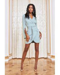Lavish Alice Obi Belted Blazer Mini Dress - Green