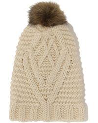 Lavish Alice - Cream Knit Faux Fur Pom Pom Beanie Hat - Lyst