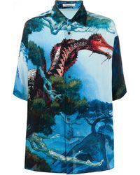 Valentino Camicia di cotone con stampa - Blu