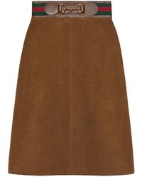 Gucci Suede Skirt With Web And Horsebit - Natural