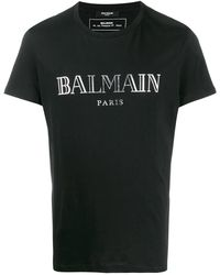 Balmain T-Shirt Logo Argento - Nero